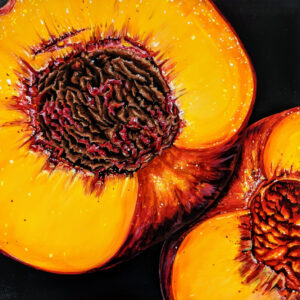 Angela Faustina, PEACH X, 2021. Oil on cradled painting panel, 12 by 12.